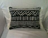 OOAK African Inspired Black and Cream Throw Pillow