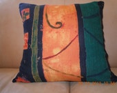 SILK Designer Accent Pillow 16X16  in Colorful Shades of Orange, Green. Blue, Black