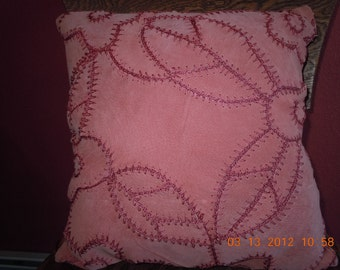 Designer Original Coral Orange Peach SUEDE LEATHER 17X17 with Matching Flower and Leaf Accents Pieced Together by Crochet