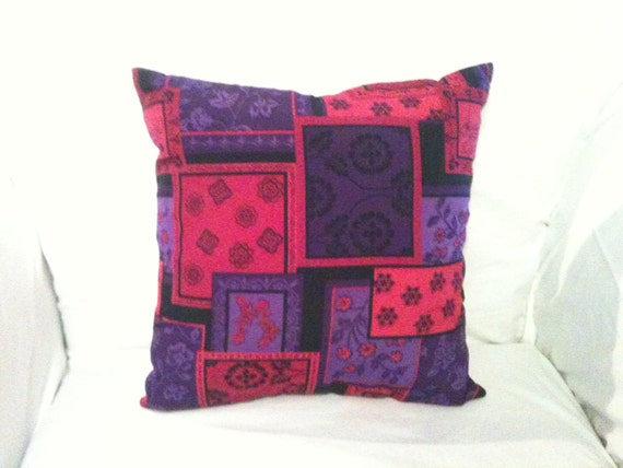 12x12 purples, pinks, and black patchwork print accent pillow. One of a Kind