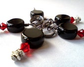 Black and red Swarovski sparkle stitch markers -set of 5 - US size 10