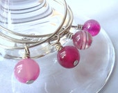 Pink agate wine glass charms - set of 4