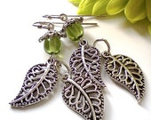 Budding Leaves Czech Glass and Filigree Dangle Earrings.