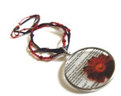 Beaded glass red flower pendant necklace - focal