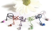 Colorful wire wrap dangle bead ear cuffs