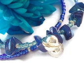 Pacific waves blue beaded jingle ankle bracelet