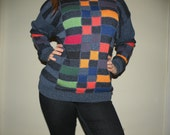 SALE Colorblock Unisex Vintage Sweater - Mens size L