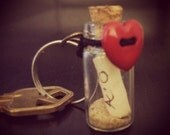 Message in a bottle with heart Charm / Keychain