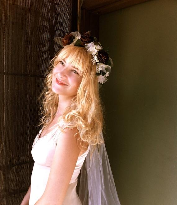 Bridal wedding head piece crown woodland rustic headband rustic country weddings