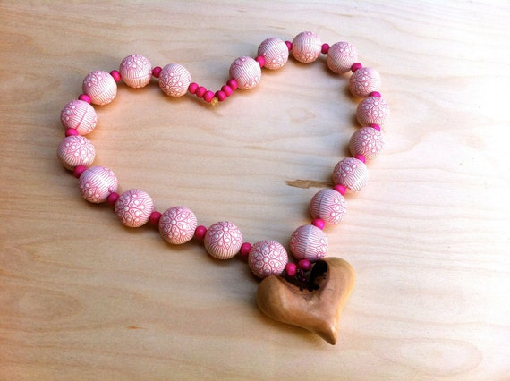 Wooden heart necklace pendant wood friendship unique jewelry