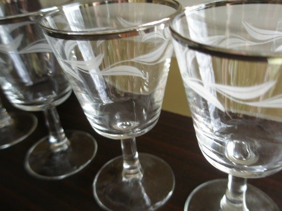 Vintage French Cocktail Glasses Etched, Mid Century, Dorothy Thorpe Style, Silver Rimmed, Mad Men, Set of 9