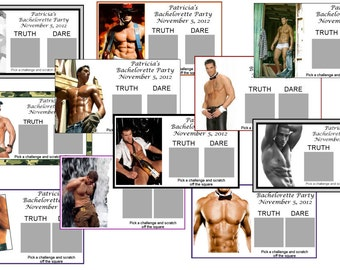 Personalized sexy hunk Bachelorette Party Truth or Dare Scratch off Game - set of 6 tickets