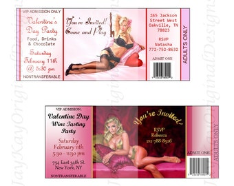 Vintage Valentine's Day Pin-up Party Invitaitons