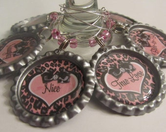 Personalized Hot Pink & Leopard Print Bottle Cap Wine Glass Charms, Martini Glass Charms for Bachelorette Party, Bridal Shower Favor