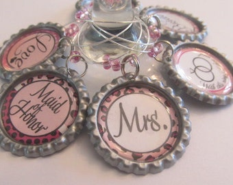 Bridal Party Wine Glass, Champagne Glass Charms - wedding favors - set of 6