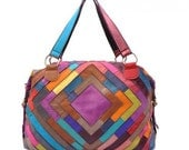 Multi-Color Tote Bag - Purse Leather Patchwork Handbag - quadrate pattern