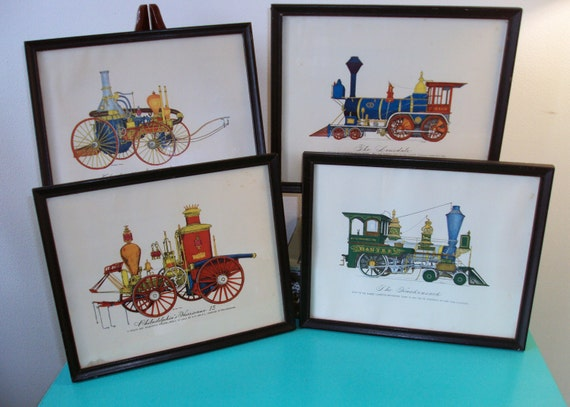 Framed Vintage Railroad Prints by Evelyn Curro