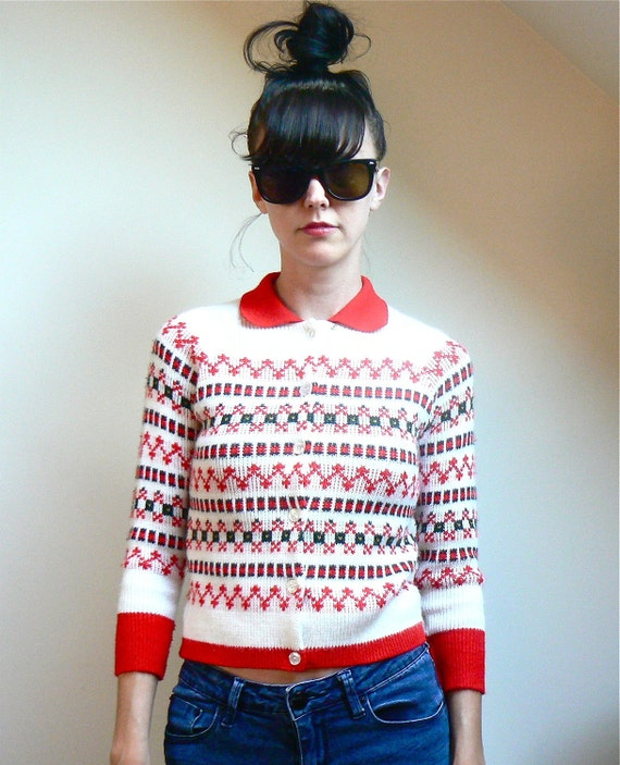 Red & White Vintage Sweater