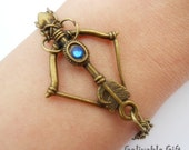 Arrow bracelet,Steampunk bow and arrow bracelet bow and arrow pendant with blue crystal and double chain BBA01 - Gelivablegift