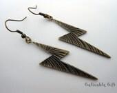 Harry Potter Lightning Scar Earrings,steampunk antique brass earrings EHL01