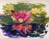 Pink and Yellow Water Lilies