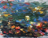 "Contemporary ORIGINAL water lily painting by American Impressionist Lisa Palombo. ""Water Lilies 1,"" 22""x 30""."