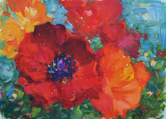 """Contemporary ORIGINAL poppy painting by American Impressionist Lisa Palombo. """"Poppies 2,"""" 22"""" x 30""""."""
