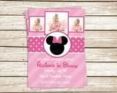 Girl's Custom Pretty Pink Polka Dots & Stripes Girly Mouse Birthday Party Printable Invitation Digital File