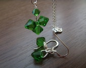 Swarovski and sterling silver - set ( necklace and earrings) -  FERN GREEN - lucky clover  wedding  bridesmaid jewelry gift
