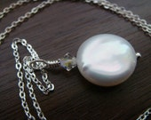 Coin pearls swarovski crystals .925 sterling silver necklace wedding bridesmaids gift