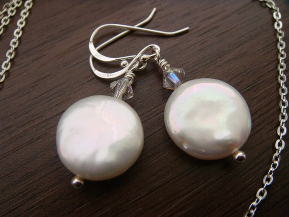 White pearls swarovski crystals sterling silver earrings wedding bridesmaid gift under 20