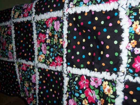 Floral and Polka Dot Baby Girl rag quilt