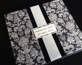 Black White Ivory Damask Wedding Guest Book or Photo Album