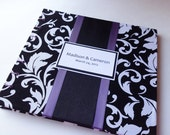 Purple Black and White Wedding Guest Book with Damask like Swirl