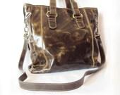 XL Khaki Leather Shoulder Bag Messenger Cross-Body Shopping Handbag- Last One