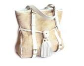Summer Tote Golden Beige Canvas Leather Handbag