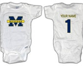 Football Michigan Wolverines ONESIE with custom name. Baby/Toddler sizes.
