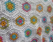 Crochet Granny Hexagone Baby Blanket. Crochet Afghan Bed Cover. Bright Colors Stroller Throw by dodofit on Etsy