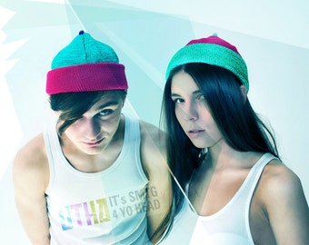 UTHA  hat .....UTHA unisex slouch beanie ... trendy convertible hat