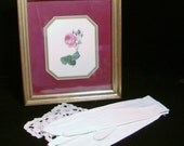 Shabby Vintage Rose Picture with Gold Frame