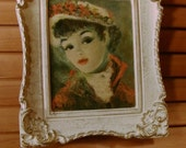 Romantic Vintage Cherry Huldah Lithograph in Shabby Chic Frame
