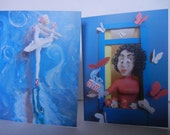 Two Greeting cards, ballet and butterflies, blue, ballerina and crocodile, whimsical original art