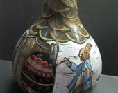 Hand Painted Dried Gourd Easter Bunny Decoration Painting Eggs Woodland Cottage Acrylic Paint