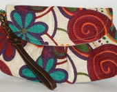 Floral blue & red brightly wristlet /purse/Pouch/ iPhone, iPod, blackberry cell Phone, Camera Bag ,Cosmetic Bag