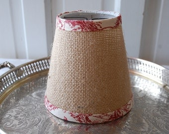 Burlap Lampshade red and and White Toile  Natural Burlap Chandalier Shade Set of 4 shades