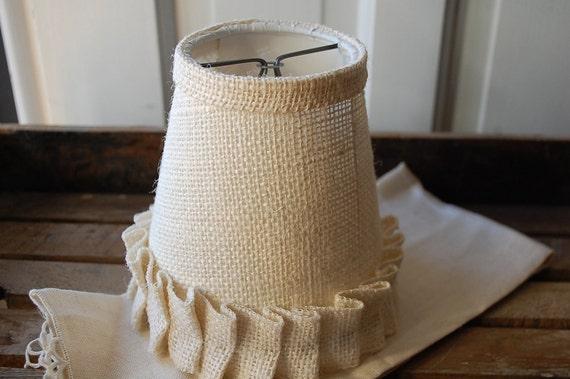 Ruffled burlap chandalier lampshades cream burlap