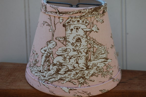 Pair Of Chandelier Lampshades Pink And Brown Toile Shades