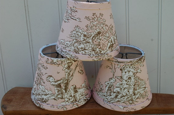 Chandelier Lampshades pink and brown toile set of 3 shades