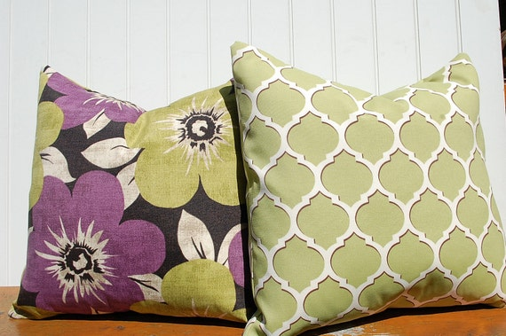 Outdoor Pillow Cover Decorator Pillow lime green and eggplant 18 x 18 pair