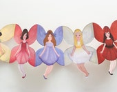 Delightful Paper Doll Chains - set of 2  flower fairies garlands decoration kids room girls birthday party ornament bunting fantasy